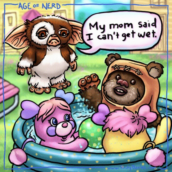Gizmo the mogwai from Gremlins, Wicket the Ewok from Star Wars and Popples